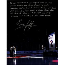 "Brian Leetch Signed Rangers ""Retirement Night"" 16x20 Photo with Handwritten Story Inscription (Stein"