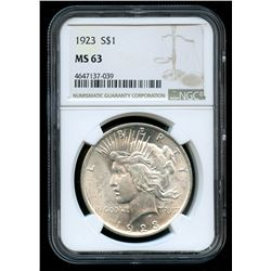1923 Peace Silver Dollar (NGC MS 63)
