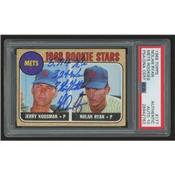 "Nolan Ryan Signed 1968 Topps #177 Rookie Card Inscribed ""5,714 K's"", ""324 W's""  ""7 No Hitters"" (PSA"