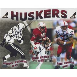 "Johnny Rodgers, Mike Rozier  Eric Crouch Signed Huskers 8x10 Photo Inscribed ""SB IV MVP"" (FSC COA)"