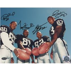 Raiders 8x10 Photo Signed by (4) Tim Brown, Desmond Howard, Rickey Dudley  James Jett (FSC COA)