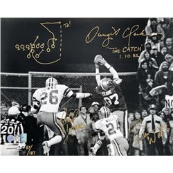 "Dwight Clark, Everson Walls  Michael Downs Signed LE ""The Catch"" 16x20 Photo with Hand-Drawn Play (G"