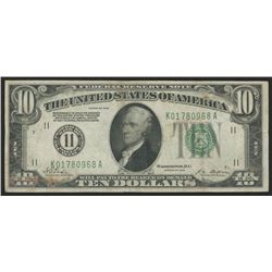 1928 $10 Ten Dollars U.S. Federal Reserve Note