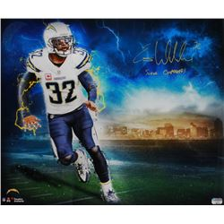 """Eric Weddle Signed Chargers 20x24 Poster Inscribed """"Super Chargers"""" (Fanatics Hologram)"""