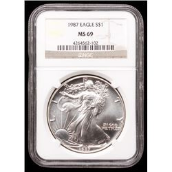 1987 American Silver Eagle $1 One-Dollar Coin (NGC MS 69)