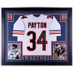 "Walter Payton Signed Bears 35x43 Custom Framed Jersey Inscribed ""Sweetness"", ""75-87"", ""Super Bowl XX"