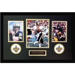 Archie Manning Signed Saints 16x26 Custom Framed Photo Display (Radtke COA)