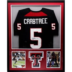 Michael Crabtree Signed Texas Tech Red Raiders 34x42 Custom Framed Jersey (JSA COA)