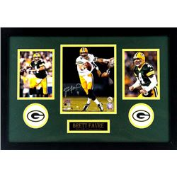 Brett Favre Signed Packers 16x26 Custom Framed Photo Display (Radtke COA)