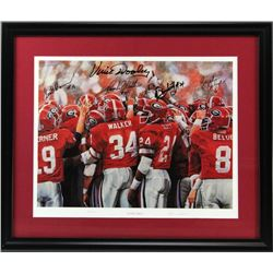 "Georgia Bulldogs ""Gllory Days"" 25x30 Custom Frame Limited Edition Print Signed by (5) with Vice Dool"
