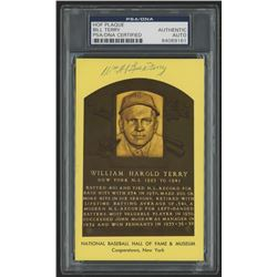 Bill Terry Signed Gold HOF Card (PSA Encapsulated)