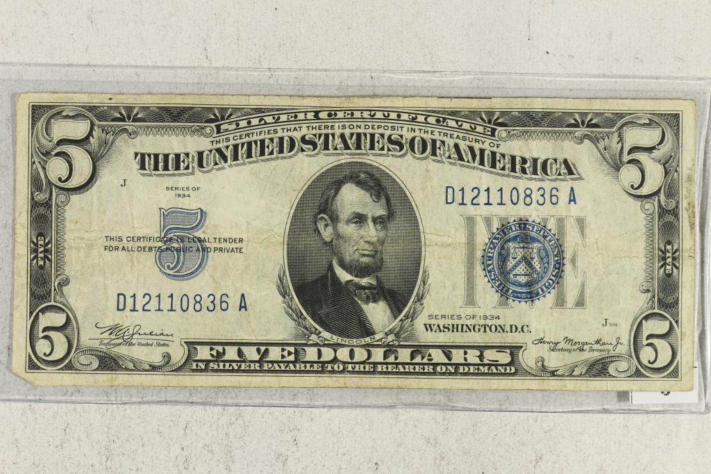 1934 5 Silver Certificate Blue Seal