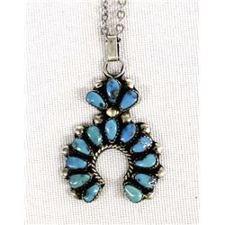 Vintage Navajo Sterling Turquoise Pendant Necklace