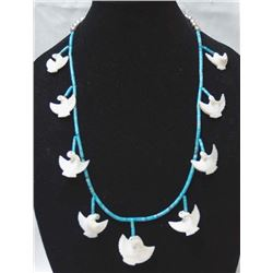 Navajo Mother of Pearl Bird Fetish Necklace