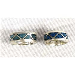 Navajo Silver & Channel Inlay Turquoise Rings