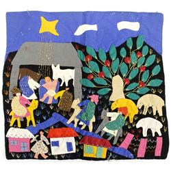 South American Embroidered Nativity Tapestry