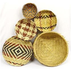 5 Native American Hopi Sifter Baskets