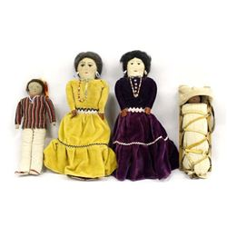 4 Vintage Native American Cloth Dolls