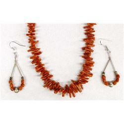 Navajo Branch Coral Necklace and Earrings