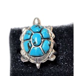 Navajo Sterling & Kingman Turquoise Turtle Ring