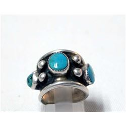Vintage Navajo Sterling Turquoise Ring, Size 4.5