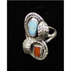 Vintage Navajo Sterling Turquoise Coral Ring, Sz 7