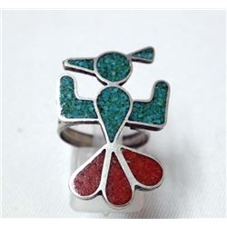 Navajo Sterling & Chip Inlay Turquoise Coral Ring