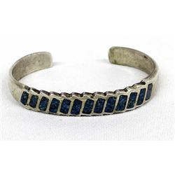 Navajo Sterling & Chip Inlay Turquoise Bracelet
