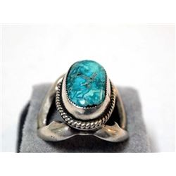 Navajo Sterling Sand Cast Turquoise Ring, Size 8