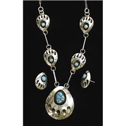 Navajo Bear Paw Turquoise Necklace and Earrings