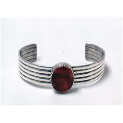 Navajo Sterling & Red Shell Bracelet by D. Victor