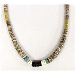 Santo Domingo Sterling and Shell Heishi Necklace