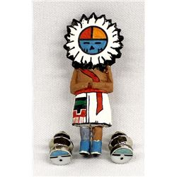 Carved Wood Hopi Sun God Pin and 2 Silver Tie Tacs