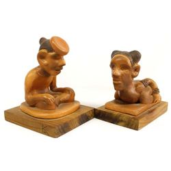 Pair of Choctaw Pottery Sculptures by R Kaniatobe