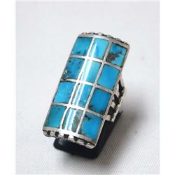 Navajo Sterling & Inlay Turquoise Ring, Size 7.5