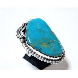 Large Navajo Sterling Turquoise Ring, Size 9.5