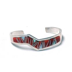 Navajo Sterling Inlay Opal & Red Shell Bracelet