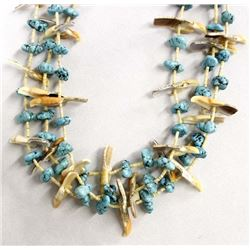 Navajo 3 Strand Sea Foam Turquoise Nugget Necklace