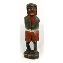 Antique Carved Wood Cigar Store Indian Statue