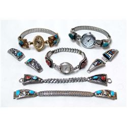 7 Native American Navajo Sterling Watch Bands