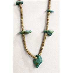 1950's Navajo Natural Turquoise Nugget Necklace
