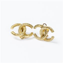 CHANEL Striped Logo Clip Earrings