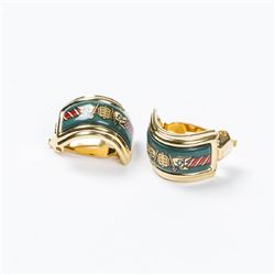 HERMES Enamel Clip Earrings