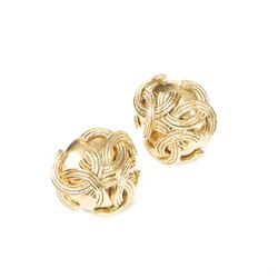 CHANEL Triple Logo Round Clip Earrings