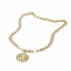 CHANEL Quilted Crest Medallion Necklace