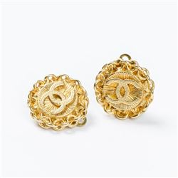 CHANEL Round Logo Clip Earrings