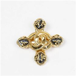 Chanel Logo Cross Brooch with Rhinestones