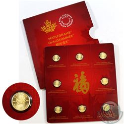 RCM Issue; 2015 Canada 8 x 1 gram Gold Maple Leafs (MapleGram8) Sheet (TAX Exempt)