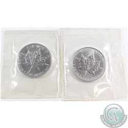 SCARCE! 1996 & 1997 Canada $5 Fine 1oz Silver Maples (TAX Exempt). Coins are sealed in original Plio