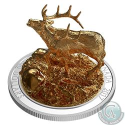 2017 $100 Sculpture of Majestic Canadian Animals - Elk Fine Silver Coin (Tax Exempt)